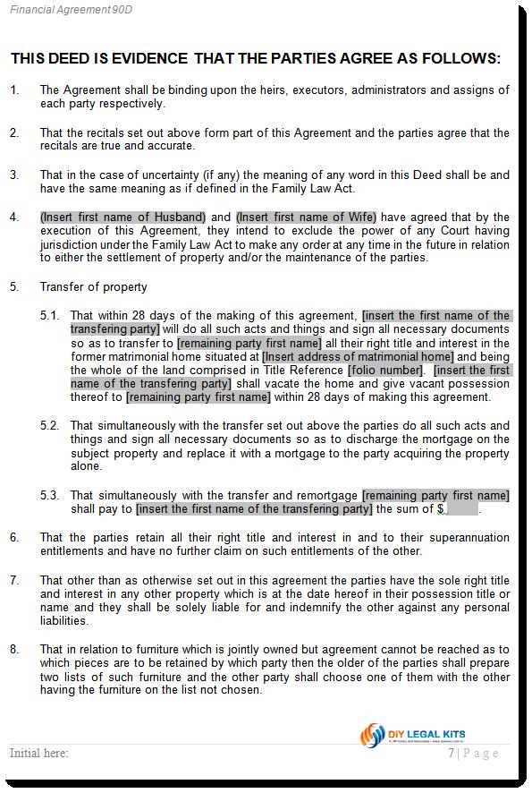Divorce financial agreement no superannuation split peaceful divorce agreement transfer clauses platinumwayz