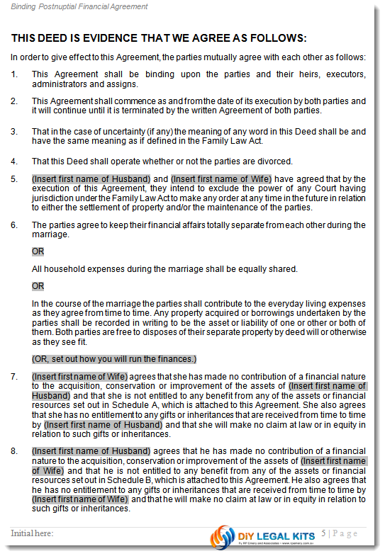 Postnuptial financial agreement - during marriage - Peaceful Path ...
