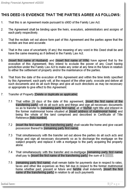 Dicorce Agreement Template Sample 2